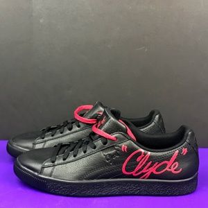 Puma CLYDE SIGNATURE Black Red Casual Shoes 8.5